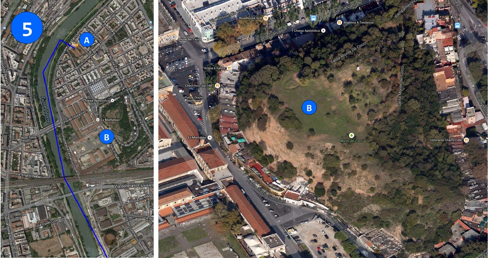 Two side by side satellite images of the roads in Rome today. There are places marked by letters and numbers in blue.