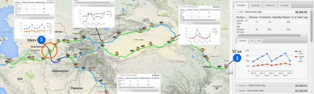 A map showing supply chain route between Xi'an, China to Turkmenistan.
