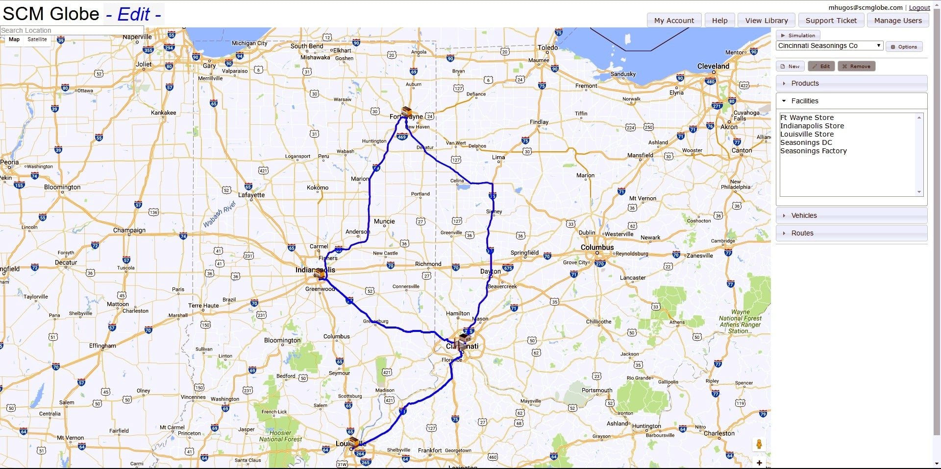 A map of Cincinnati with a route highlighted on it.