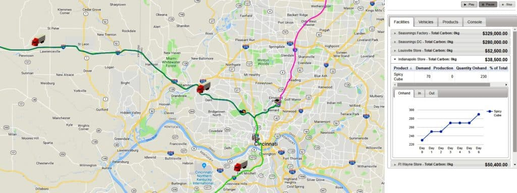 Picture of a map from the SCM Globe app showing the suppply chain route from Cincinnati to Louisville.