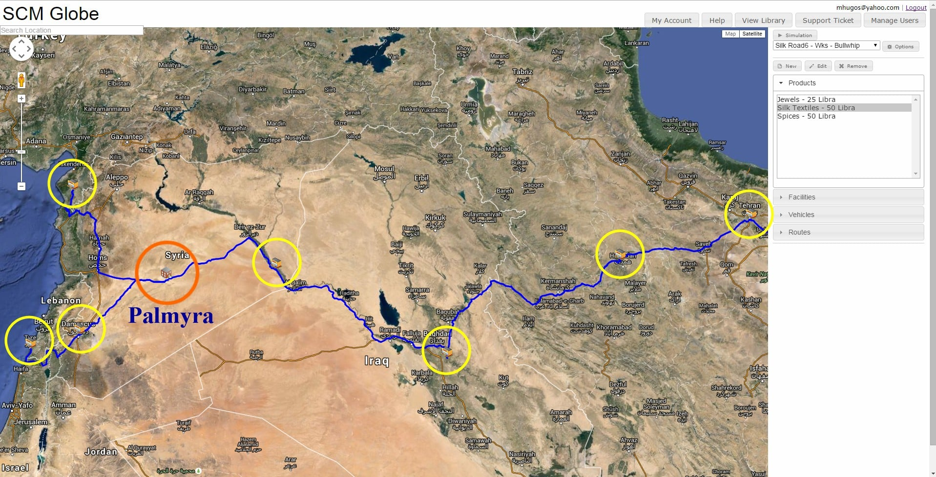 A map showing the silk road route through Palmyra, highlighted in blue with yellow circles on it.