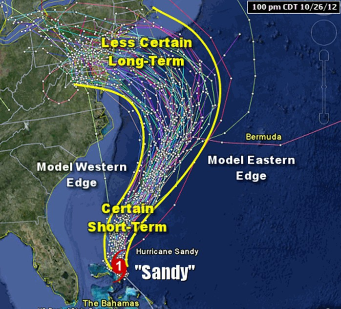 map showing predicted paths of a hurricane over time