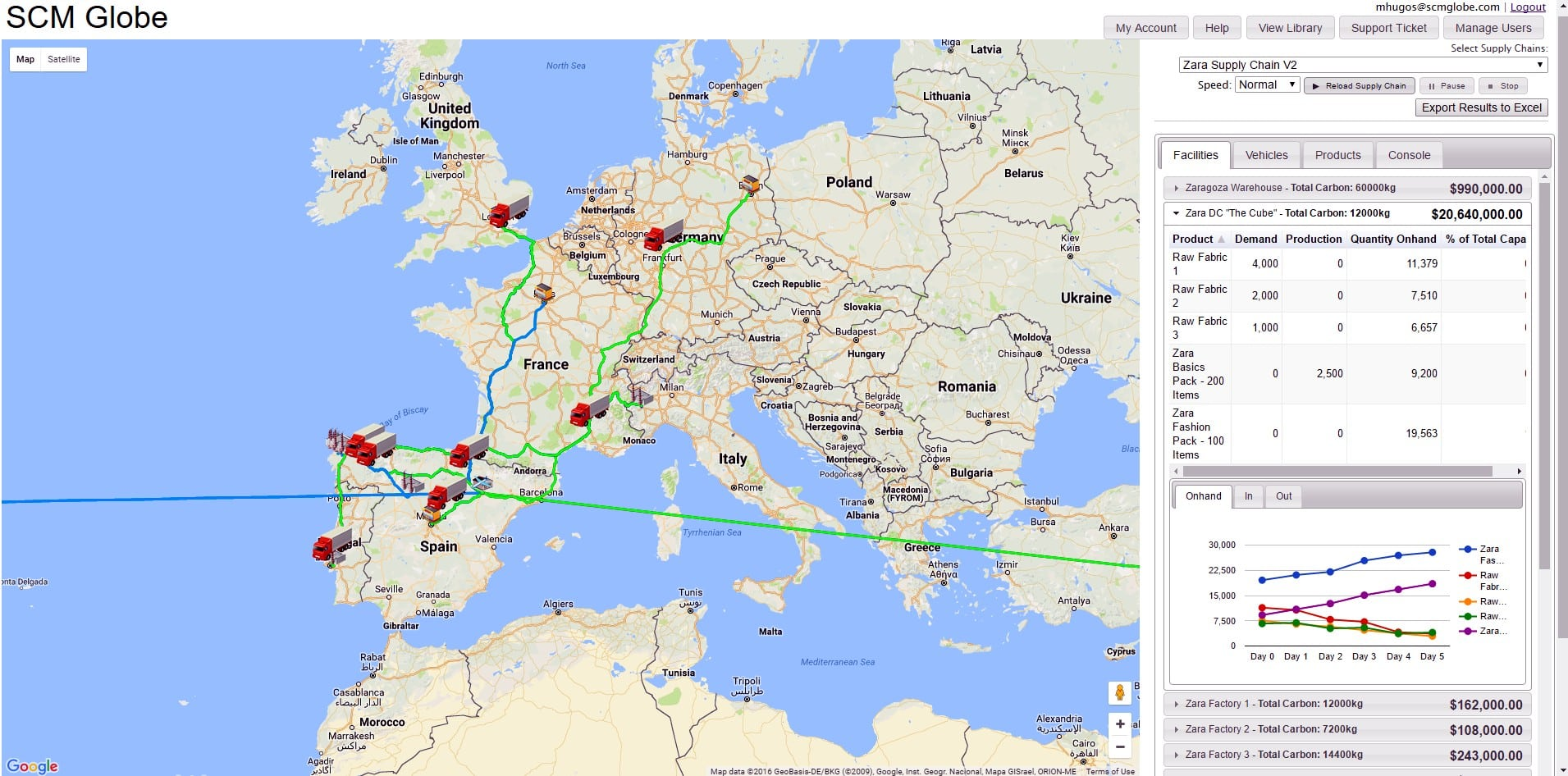 A map of Europe with routes highlighted in green and computer generated  images of semi-