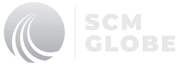 Black and white SCM Globe logo